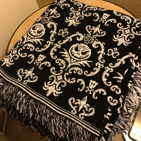 Nightmare Before Christmas Crochet Blanket.Disney Jack Skellington Woven Throw Blanket